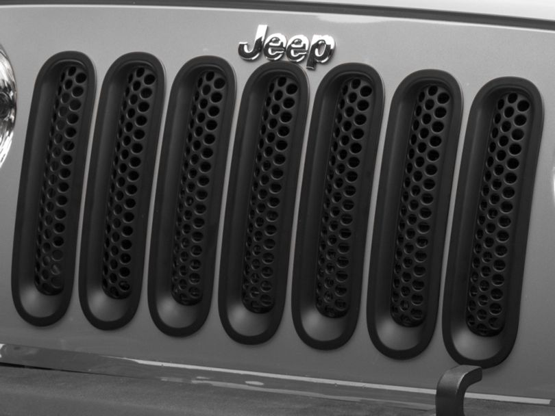 RedRock 4x4 Honeycomb Grille Inserts - Matte Black (07-18 Jeep Wrangler JK)