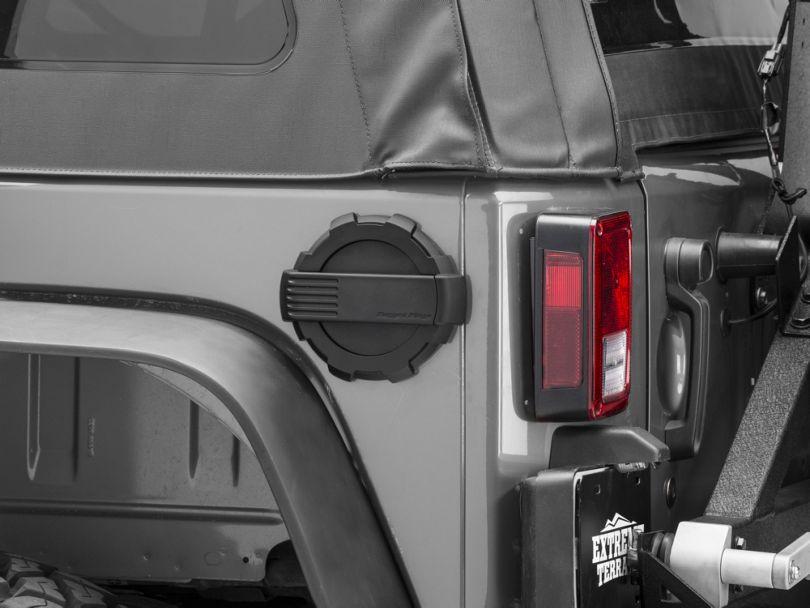 Rugged Ridge Elite Non-Locking Fuel Door; Black (07-18 Jeep Wrangler JK)