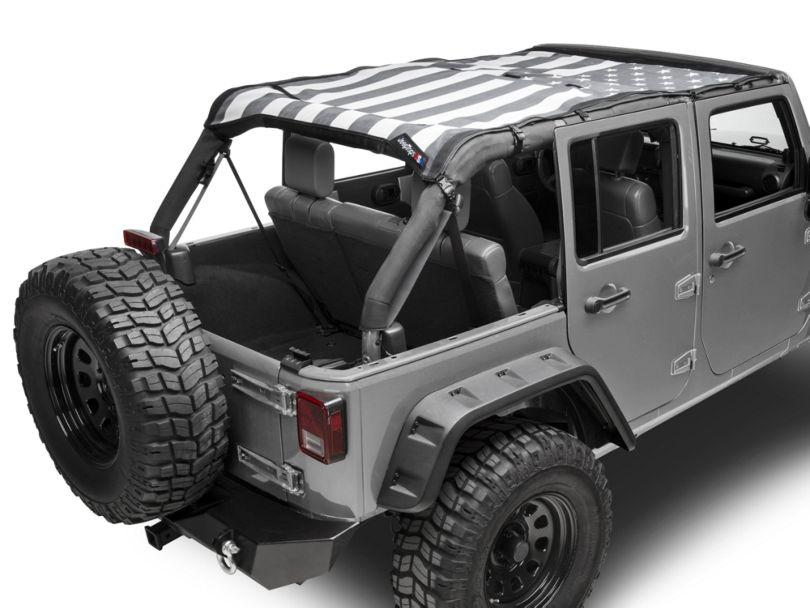 JTopsUSA Mesh Shade Top; Tactical US Flag (07-18 Jeep Wrangler JK 4 Door)