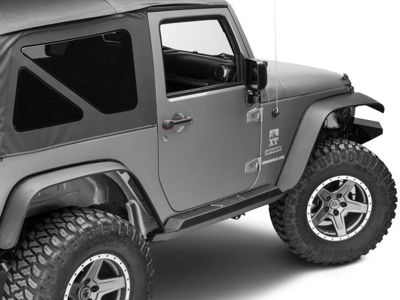 Smittybilt XRC Atlas Rock Sliders with Step; Textured Black (07-18 Jeep Wrangler JK 2 Door)
