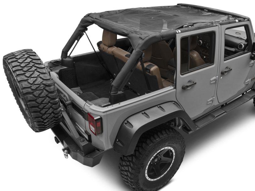 Smittybilt Cloak Extended Mesh Top; Black (07-18 Jeep Wrangler JK 4 Door)