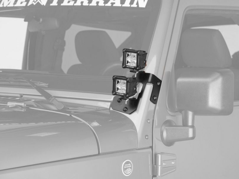 Rugged Ridge 3-Inch Square Dual Beam LED Lights with Gloss Black A-Pillar Mounting Brackets (07-18 Jeep Wrangler JK)