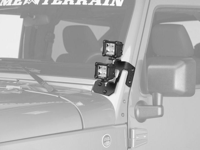 Rugged Ridge 3-Inch Square Dual Beam LED Lights with Textured Black A-Pillar Mounting Brackets (07-18 Jeep Wrangler JK)