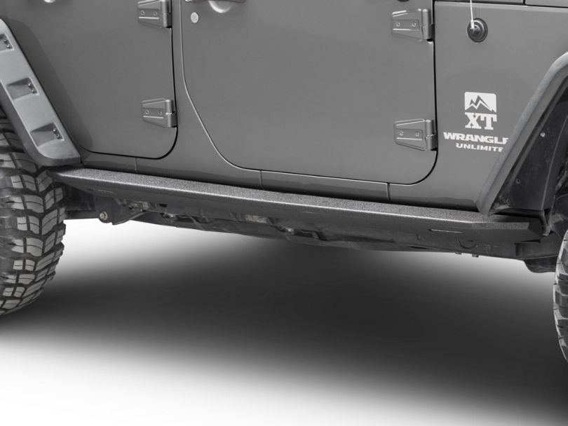 Barricade HD Rock Sliders with LED Rock Lights; Textured Black (07-18 Jeep Wrangler JK 4 Door)