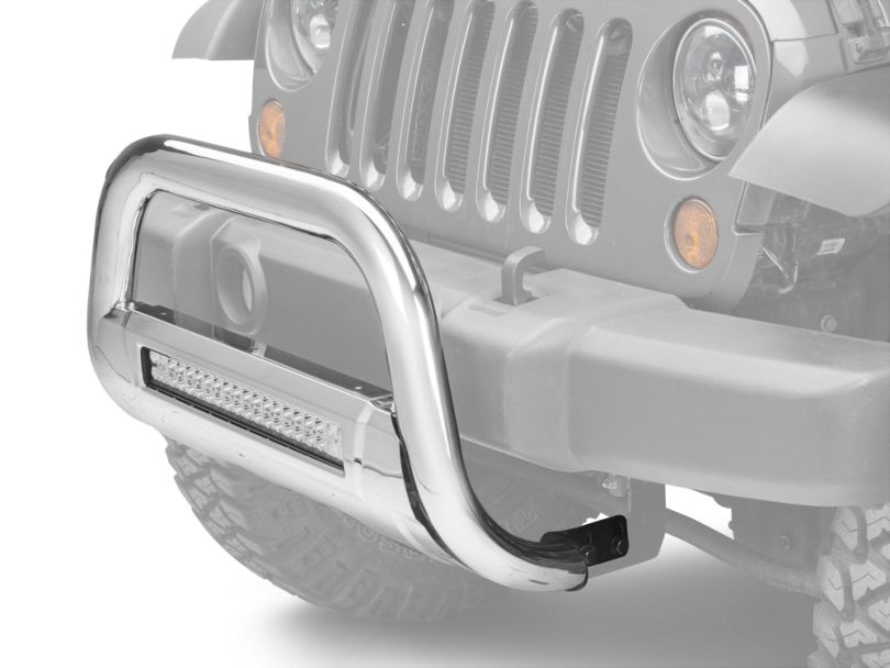 Barricade HD Bull Bar w/ Skid Plate & 20 in. LED Dual-Row LED Light Bar - Polished SS (10-18 Jeep Wrangler JK)