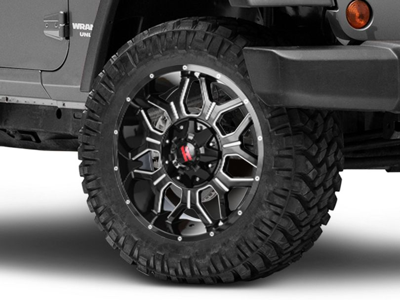 Havok Off-Road H-106 Black Machined Wheel; 20X9 (07-18 Jeep Wrangler JK)