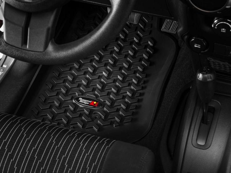 Rugged Ridge All-Terrain Front & Rear Floor Mats - Black (07-18 Jeep Wrangler JK 2 Door)