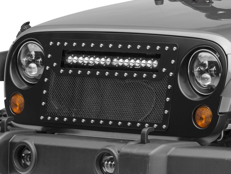 DV8 Off-Road Mesh LED Grille for 20 in. LED Light Bar - Black (07-18 Jeep Wrangler JK)