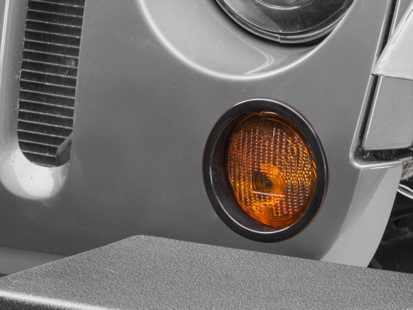 RedRock 4x4 Turn Signal Bezels - Black (07-18 Jeep Wrangler JK)