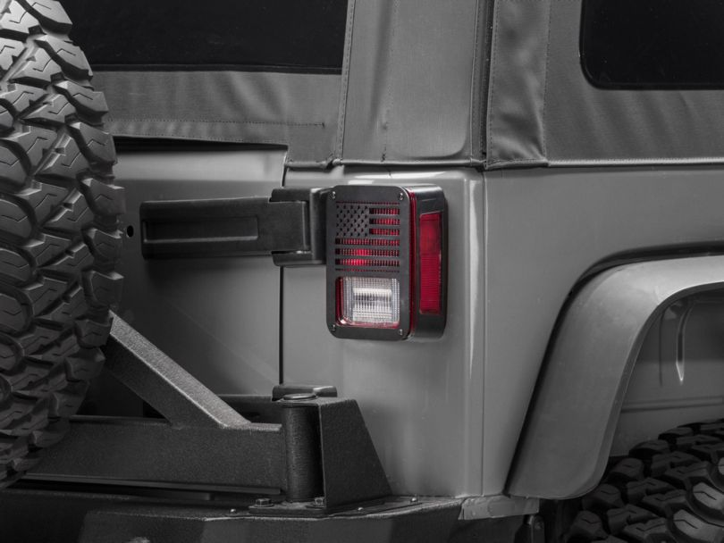 RedRock 4x4 Old Glory Tail Light Covers - Textured Black (07-18 Jeep Wrangler JK)