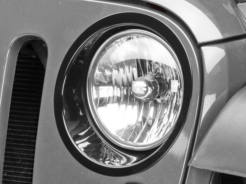 RedRock 4x4 Headlight Bezels - Gloss Black (07-18 Jeep Wrangler JK)