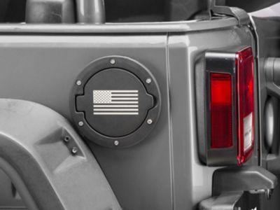 RedRock 4x4 Old Glory Fuel Door Cover - Textured Black (07-18 Jeep Wrangler JK)