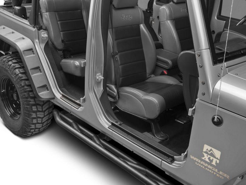 RedRock 4x4 Diamond Pattern Door Entry Guards - Black (07-18 Jeep Wrangler JK)