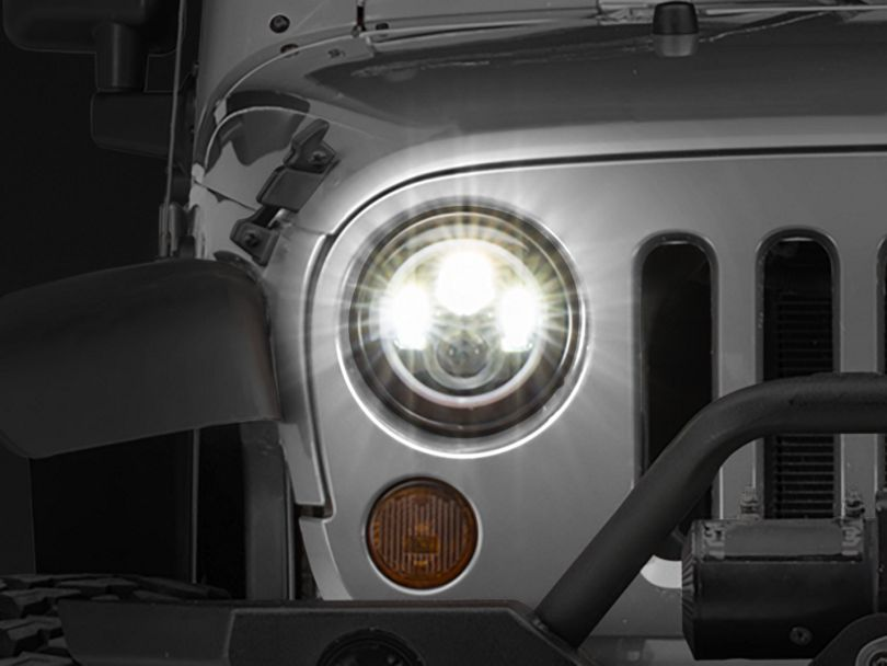 Axial LED Halo Headlights with DRL and Amber Turn Signals (97-20 Jeep Wrangler TJ, JK & JL)