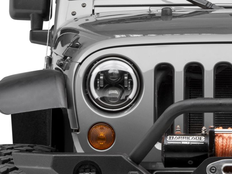 Raxiom 6 LED Headlights w/ Partial Halo (97-18 Jeep Wrangler TJ & JK)