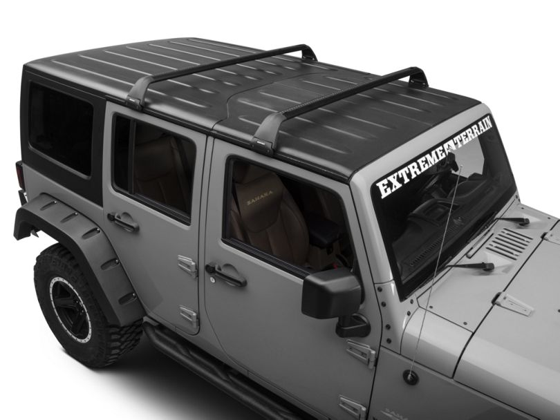 Rhino-Rack Vortex SG 2 Bar Roof Rack; Black (07-10 Jeep Wrangler JK 2 Door; 07-18 Jeep Wrangler JK 4 Door; 18-20 Jeep Wrangler JL 4 Door)