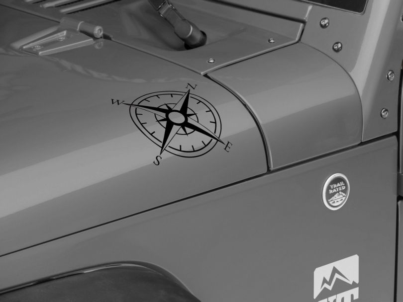 Small Compass Decal Set; Black (87-20 Jeep Wrangler YJ, TJ, JK & JL)