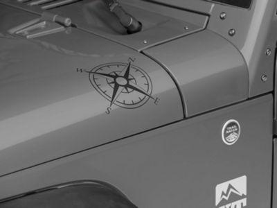 Small Compass Decal Set - Matte Black (87-19 Jeep Wrangler YJ, TJ, JK & JL)