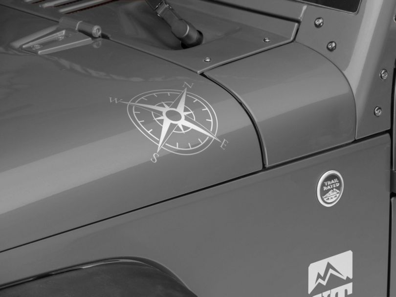 Small Compass Decal Set - Silver (87-20 Jeep Wrangler YJ, TJ, JK & JL)