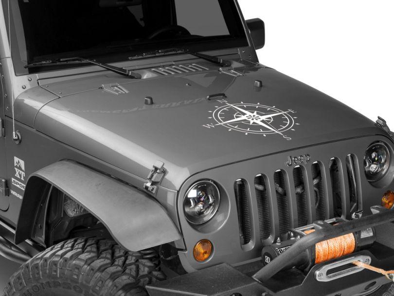 SEC10 Compass Decal; White (87-20 Jeep Wrangler YJ, TJ, JK & JL)