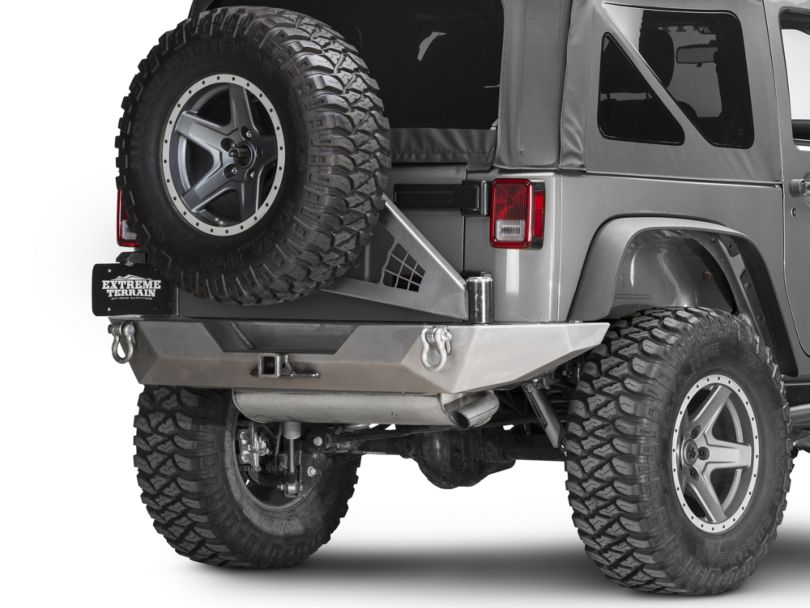 Poison Spyder Brawler Full Width Rear Bumper with Tire Carrier and Hitch; Bare Steel (07-18 Jeep Wrangler JK)