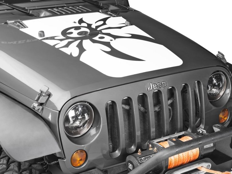 Poison Spyder Mountain Spyder Hood Decal; White (07-18 Jeep Wrangler JK)