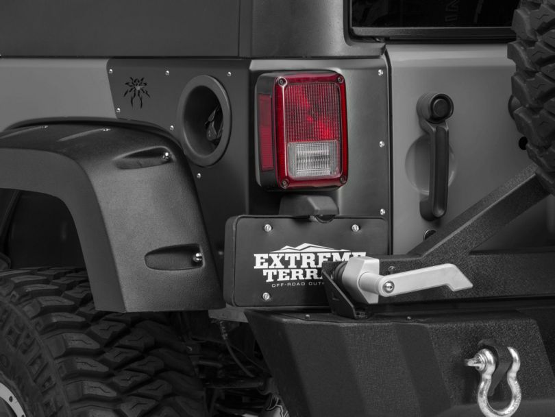 Poison Spyder Trail Corner Guards w/ OEM Tail Light Cutouts - SpyderShell Armor Coat (07-18 Jeep Wrangler JK 4 Door)