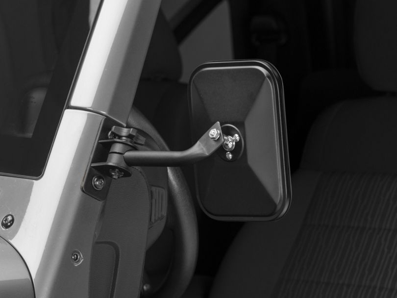Rugged Ridge Rectangular Stubby Trail Mirror; Textured Black (97-18 Jeep Wrangler TJ & JK)