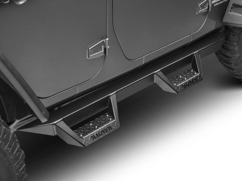 Magnum RT Cab Length Side Step Bars; Black (07-18 Jeep Wrangler JK 4 Door)