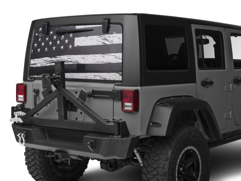 Perforated Distressed Flag Rear Window Decal (07-20 Jeep Wrangler JK & JL)