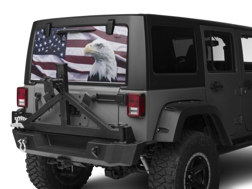 Perforated Flag & Eagle Rear Window Decal (07-20 Jeep Wrangler JK & JL)