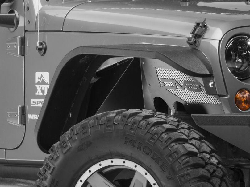 DV8 Offroad Aluminum Inner Fender Flares; Black (07-18 Jeep Wrangler JK)