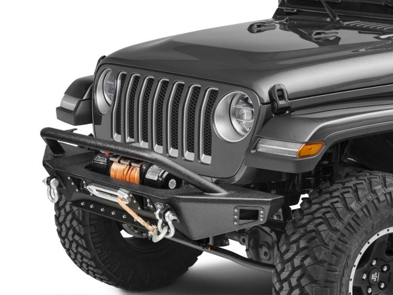 Deegan 38 Front Bumper with KC HiLiTES LED Fog Lights (18-20 Jeep Wrangler JL)
