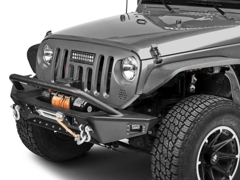 Deegan 38 Front Bumper w/ KC LED Fog Lights (07-18 Jeep Wrangler JK)