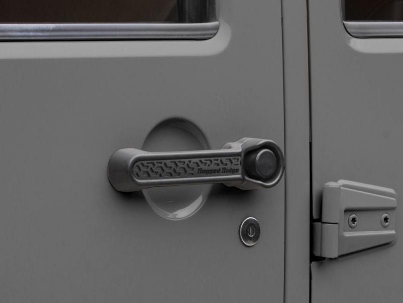 Rugged Ridge Elite Door Handle Inserts; Black Tread (07-18 Jeep Wrangler JK 4 Door)