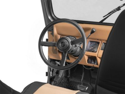 BLACK LEATHER STEERING WHEEL COVER GREY STITCH FOR JEEP WRANGLER JK 2007-2013