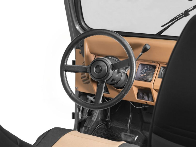 Sport Style Leather Steering Wheel - Black (87-95 Jeep Wrangler YJ)