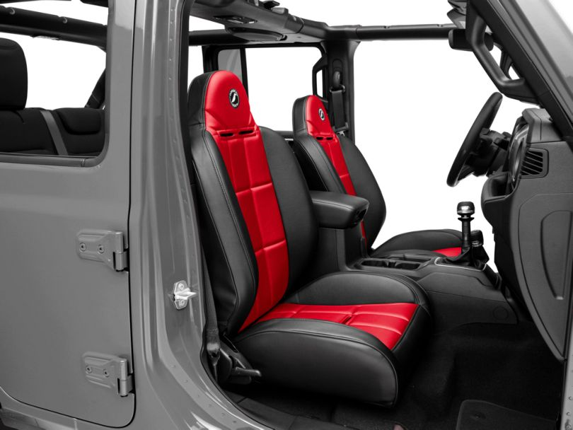 Corbeau Baja RS Suspension Seats - Black Vinyl/Red Cloth - Pair (87-18 Jeep Wrangler YJ, TJ & JK; Seat Brackets are Required for TJ & JK Models)
