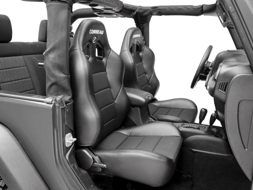 Corbeau Baja XRS Suspension Seats - Black Vinyl/Cloth - Pair (87-18 Jeep Wrangler YJ, TJ & JK; Seat Brackets are Required for TJ & JK Models)