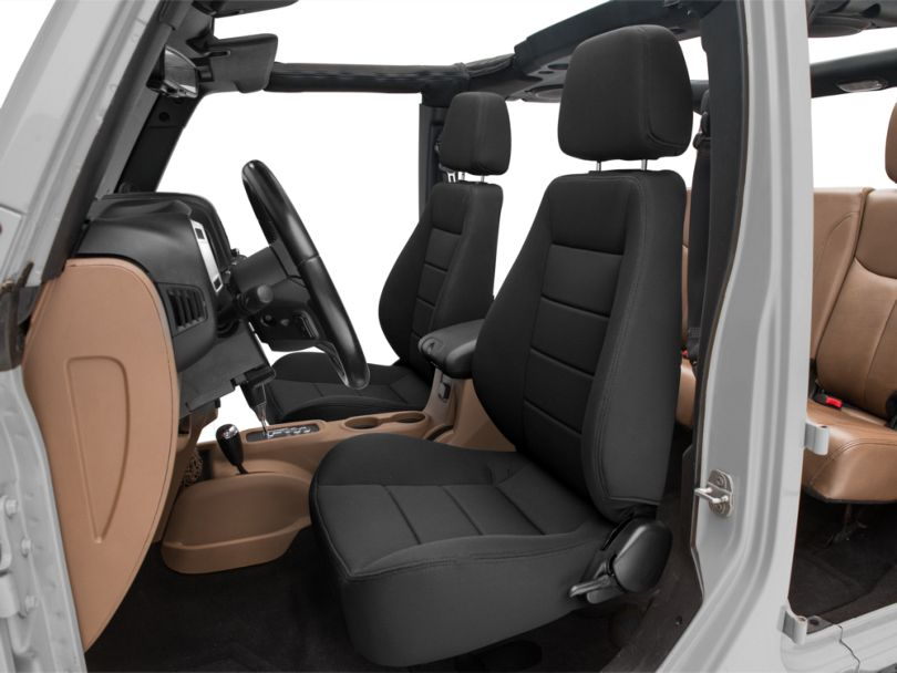 Corbeau Sport Reclining Seats - Black Cloth - Pair (87-18 Jeep Wrangler YJ, TJ & JK; Seat Brackets are Required for TJ & JK Models)