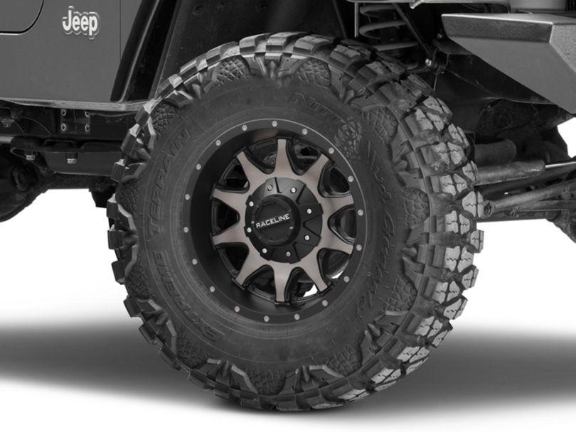 Raceline Shift Black Machined with Dark Tint Wheel; 16x8 (97-06 Jeep Wrangler TJ)