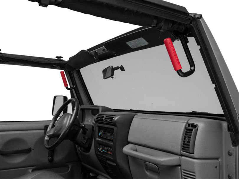 Front Grab Handles w/ Red Grips (97-06 Jeep Wrangler TJ)