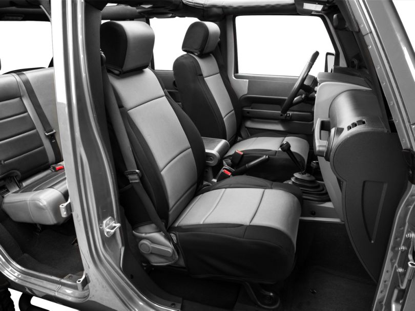 Rugged Ridge Neoprene Front Seat Covers - Black/Gray (07-10 Jeep Wrangler JK w/ Factory Seat Air Bags)
