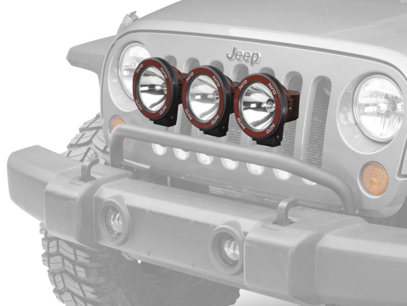 Rugged Ridge 5-Inch Round HID Off-Road Fog Lights with Black Composite Housings; Set of Three