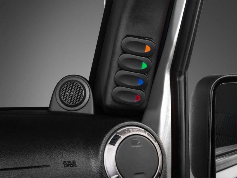 Rugged Ridge A-Pillar Switch Pod Kit with Rocker Switches; Right Side (11-18 Jeep Wrangler JK)