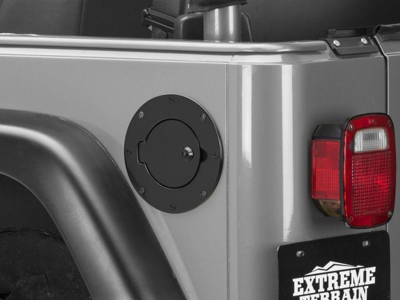 Rugged Ridge Locking Fuel Door Cover; Black Aluminum (97-06 Jeep Wrangler TJ)