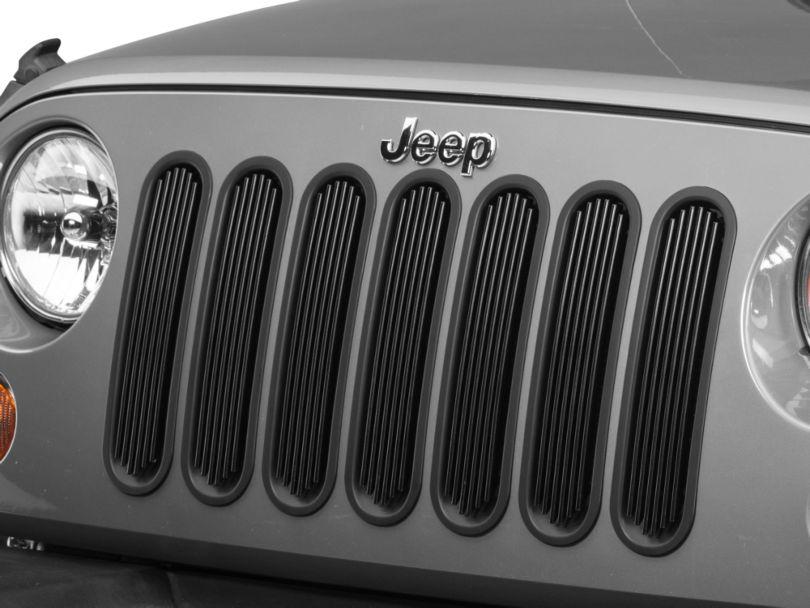 Rugged Ridge Billet Aluminum Grille Inserts - Black (07-18 Jeep Wrangler JK)