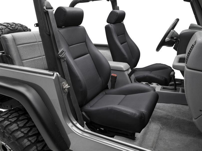Smittybilt Front Contour Sport Bucket Reclining Seat - Black Denim (87-02 Jeep Wrangler YJ & TJ)