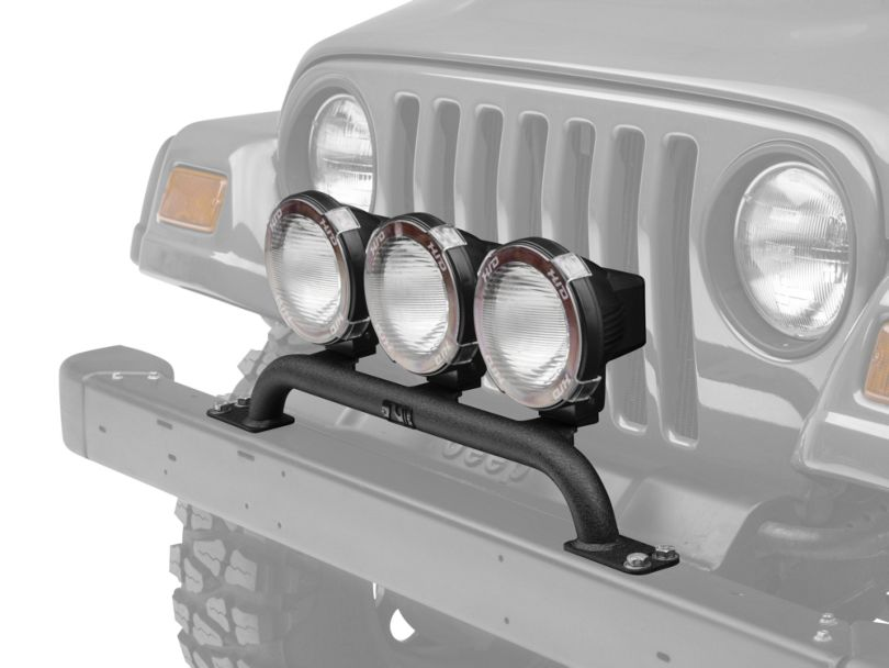 Rugged Ridge 5-Inch Round HID Off-Road Fog Lights with Front Bumper Light Bar (97-06 Jeep Wrangler TJ)