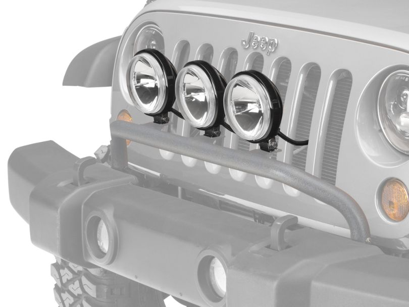 Rugged Ridge 5-Inch Round Halogen Off-Road Fog Lights with Front Bumper Light Bar (07-18 Jeep Wrangler JK)